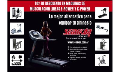 SEMIKON 10% de descuento en máquinas de musculación líneas e-power y k-power